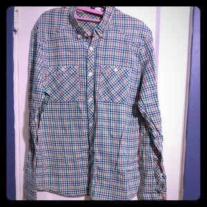 DIVIDED plaid primary colors button down top